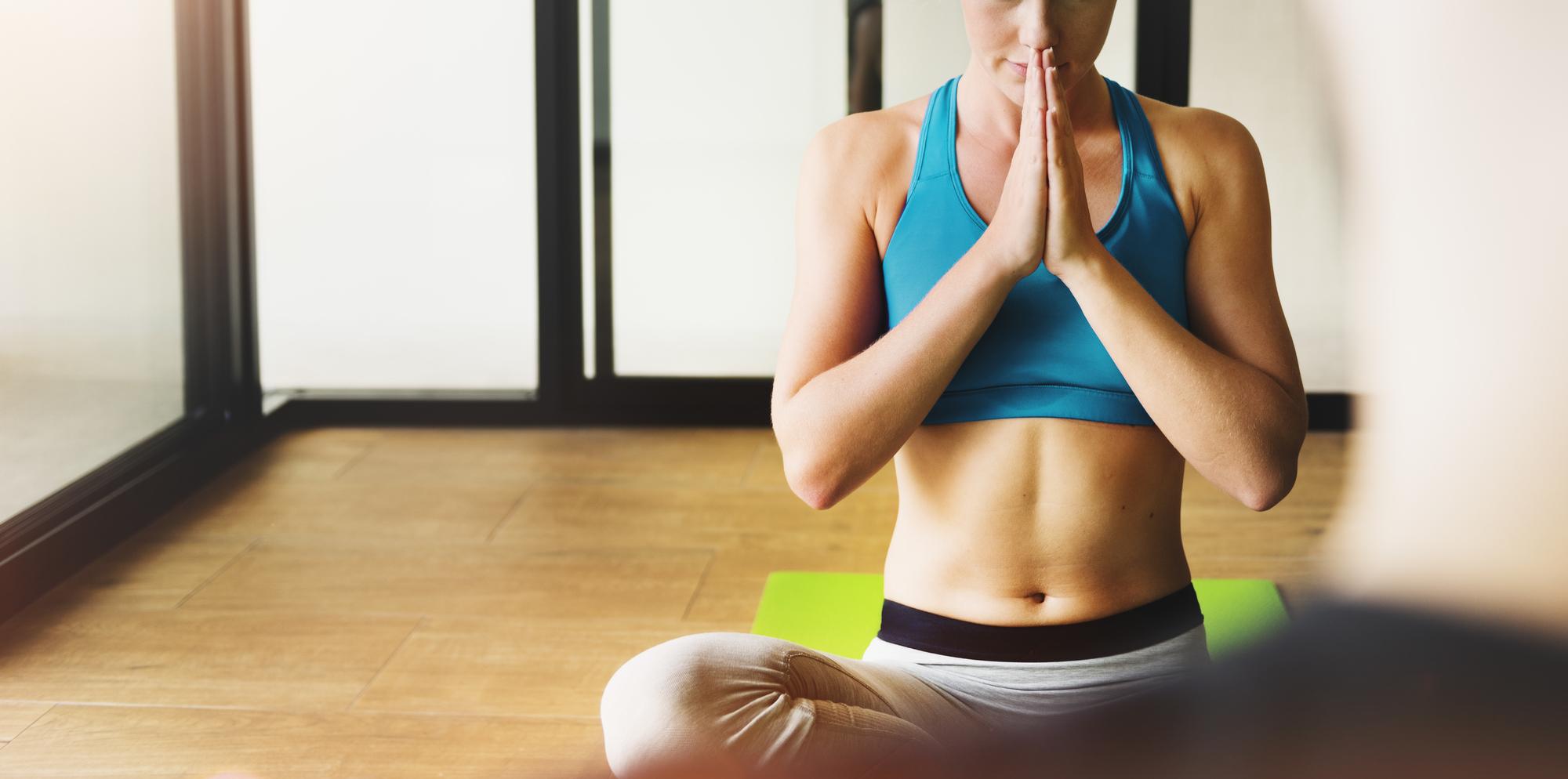 Woman Man Yoga Practice Pose Namaste Concept